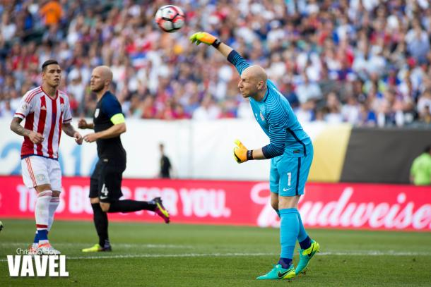 Guzan throws the ball out following a save