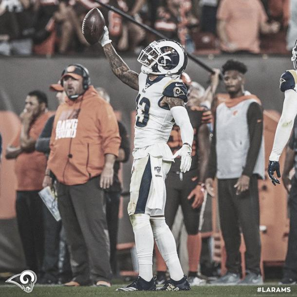 Brandin Cooks ha realizado un gran trabajo, al tener mas de 100 yardas aéreas recibidas (foto Rams.com)