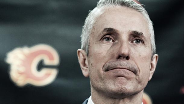 Bob Hartley reacts after winning NHL'S coach of the year honours. (Jeff McIntosh/CP)