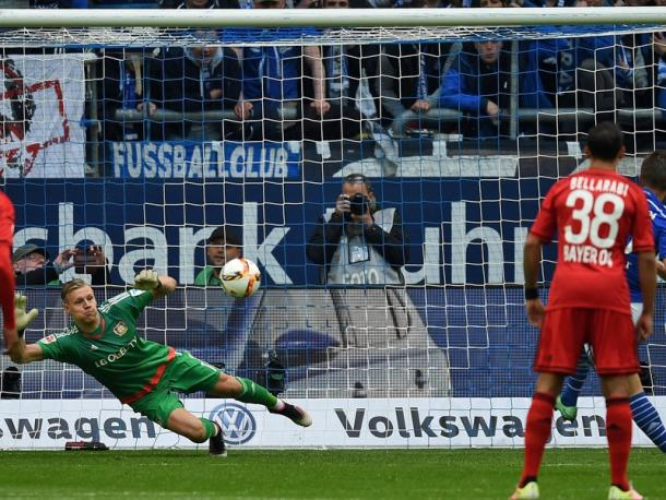 Bernd Leno rescued Leverkusen here, but his efforts proved in vain. | Image credit: kicker - Getty Images