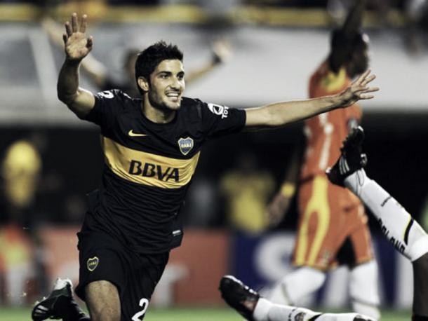 Nicolás Blandi festeja su gol a Barcelona de Guayaquil. Foto: Pasión Fútbol