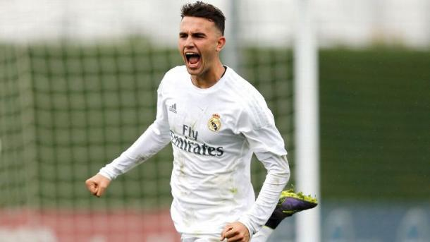 Mayoral celebrates one of his goals for Real Madrid's youth side. | Image source: ESPN FC