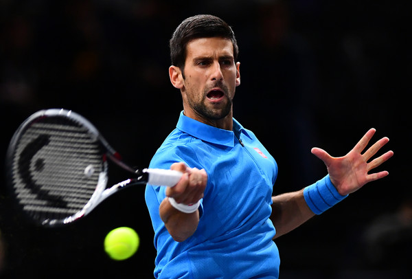 Djokovic in action during the match (Photo by Dan Mullan/Getty Images)