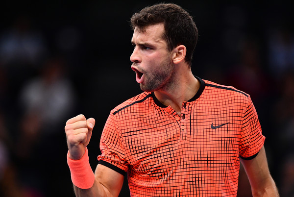 Dimitrov celebrates a point (Photo by Dan Mullan/Getty Images)