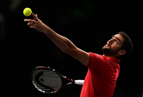 Cilic serves to Goffin (Photo by Dan Mullan/Getty Images)