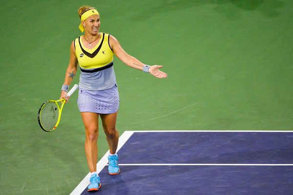 Svetlana Kuznetsova shows her frustration after a point | Photo: Alex Goodlett/Getty Images North America