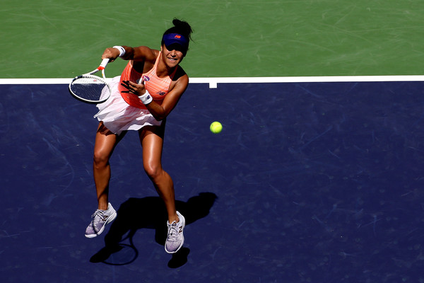 Heather Watson in action during her match against Nicole Gibbs | Photo: Matthew Stockman/Getty Images North America