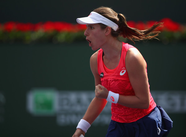 Johanna Konta celebrates winning a point | Photo: Clive Brunskill/Getty Images North America