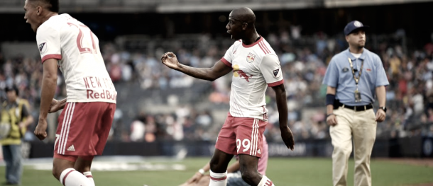 Bradley Wright-Phillips celebrating his first goal of the match. | Photo: Ben Solomon