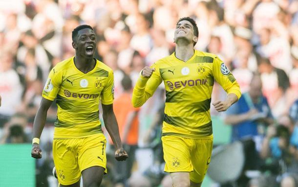 L'urlo di Dembelé dopo l'1-0. | Fonte immagine: Twitter @BVB
