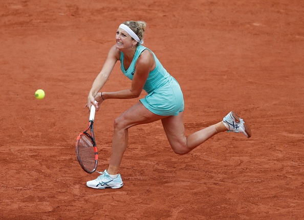 Bacsinszky hits a backhand during her victory. Photo: Mustafa Yalcin/Anadolu Agency/Getty Images