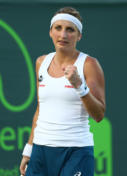 Bacsinszky pumps her first. Photo: Clive Brunskill/Getty Images