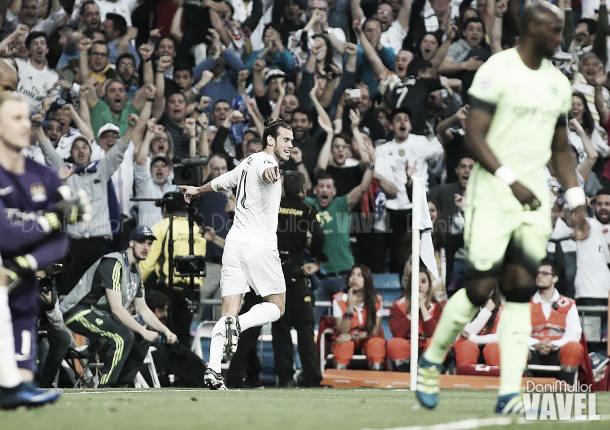 Gareth Bale celebra el tanto que dio el pase a la final al Real Madrid   Fotografía: Dani Mulor / VAVEL