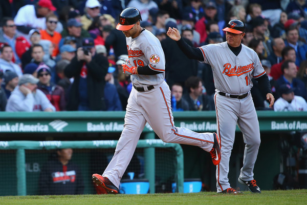 Chris Davis (19) rounds third base after hitting a monster home run in the top of the ninth inning of Craig Kimbrel. (Source: Maddie Meyer/Getty Images North America)
