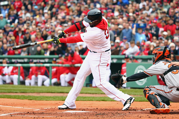 David Ortiz hits a single in the first inning bringing home Dustin Pedroia. (Source: Maddie Meyer/Getty Images North America)