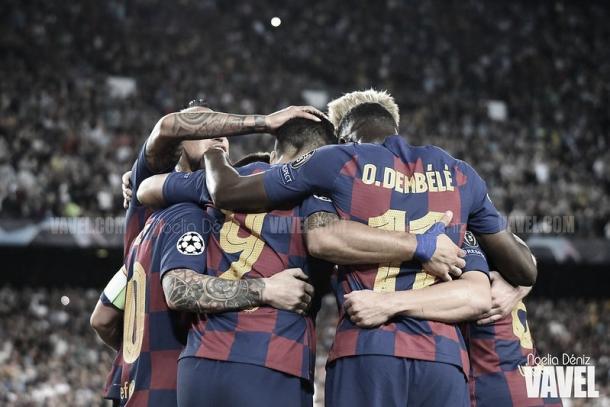 El Barcelona celebra la victoria ante el Inter | Foto: Noelia Déniz - VAVEL