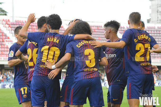 El conjunto 'culé' celebrando un gol en la victoria contra el Córdoba | Foto: Noelia Déniz - VAVEL