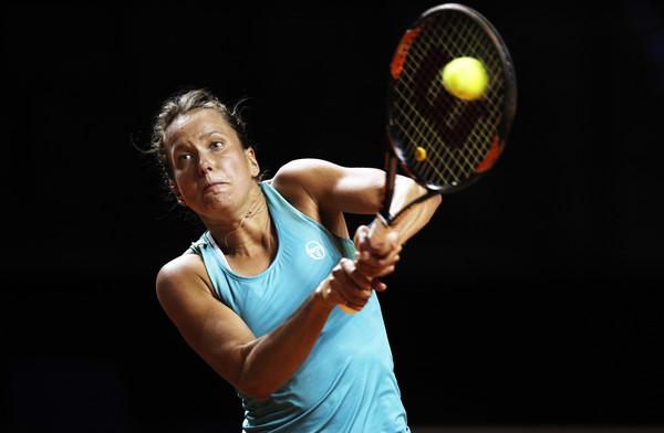 Barbora Strycova in action at the Porsche Tennis Grand Prix | Photo: Adam Pretty/Bongarts