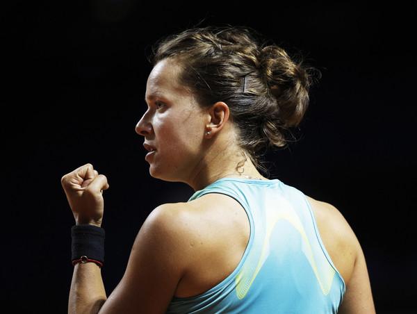 Barbora Strycova celebrates winning a point against Brady last week | Photo: Adam Pretty/Bongarts