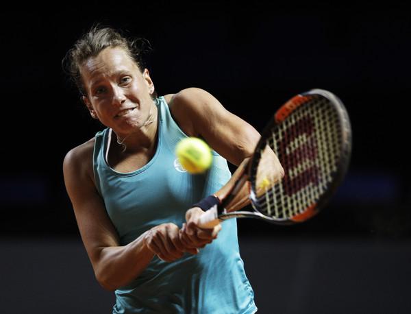 Barbora Strycova in action at the Porsche Tennis Grand Prix last week | Photo: Adam Pretty/Bongarts