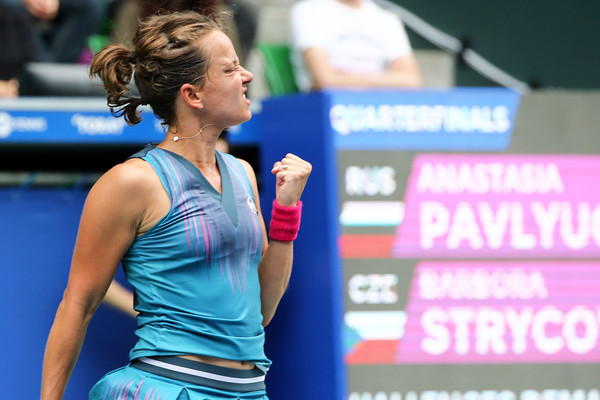 Barbora Strycova celebrates winning the tight first set | Photo: Koji Watanabe/Getty Images AsiaPac