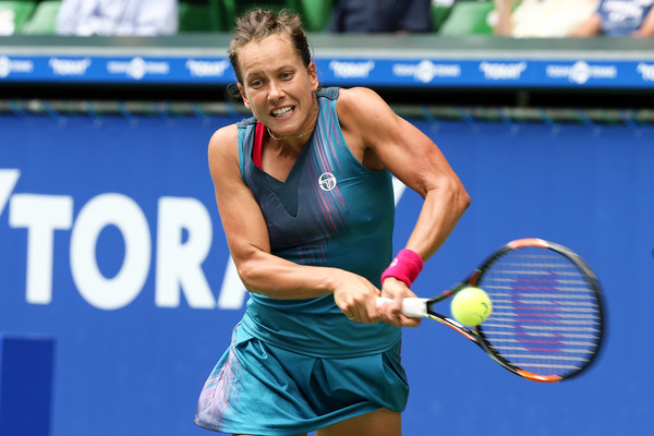 Barbora Strycova hits a backhand during the match | Photo: Koji Watanabe/Getty Images AsiaPac