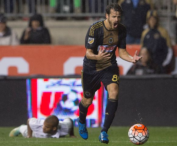 Tranquillo Barnetta #85 of the Philadelphia Union reacts in the game against Sporting Kansas City in the U.S. Open Cup Final on September 30, 2015 at PPL Park in Chester, Pennsylvania. Sporting Kansas City defeated the Philadelphia Union in penalty kicks. (Photo by Mitchell Leff/Getty Images