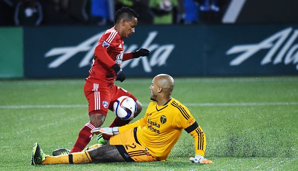 Goal keeper Adam Kwarasey #12 of Portland Timbers slides in on Michael Barrios #21 of FC Dallas during the second half of the match at Providence Park on November 22, 2015 in Portland, Oregon. (Photo by Steve Dykes/Getty Images