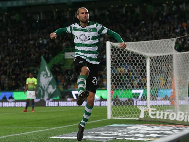 Bas Dost celebra el gol conseguido en la última jornada | Foto: Sporting CP