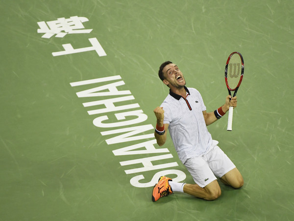 Bautista Agut celebrates converting his match point against Djokovic in the semis. Photo: Kevin Lee/Getty Images