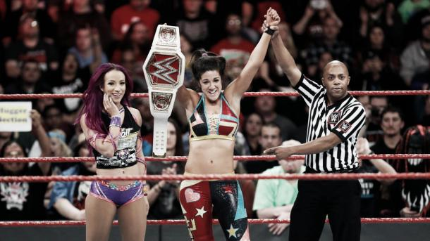 Bayley ended the streak of Charlotte and retained her title at Fastlane with a helping hand from Sasha Banks (image: wwe.com)