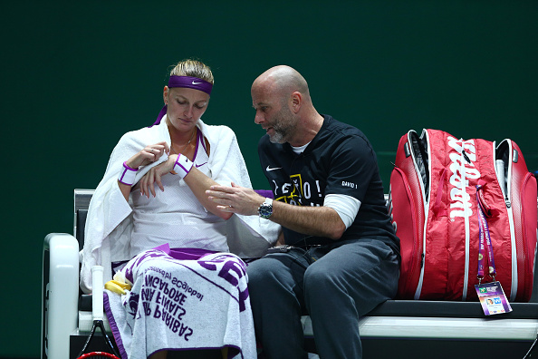Petra Kvitova and former coach Dsvid Kotyza at the WTA Tour Championships in Singapore (Photo:Getty Images)