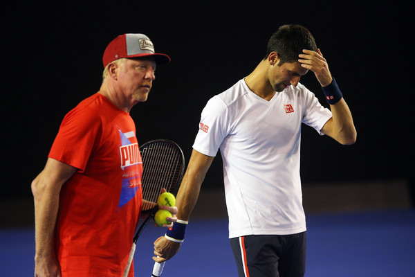Boris Becker (left) and Novak Djokovic before the Australian Open (Photo: Graham Denholm/Getty Images)