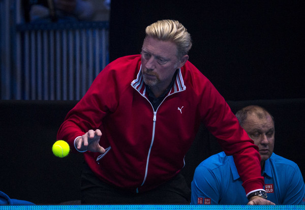 Boris Becker catches a ball during one of Djokovic's matches at the ATP World Tour Finals. Photo: Justin Setterfield/Getty Images
