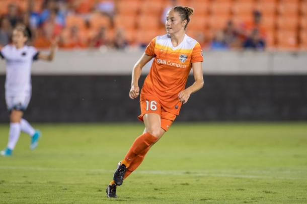 Janine Beckie scored Houston's leading goal in the 8th minute. Photo: Trask Smith