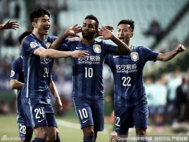 Alex Teixeira já tem dois gols na Super Liga Chinesa (Foto: Sina Sports)