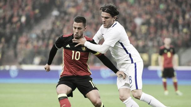 Above: Chelsea's Eden Hazard in action for Belgium | Photo: Sky Sports