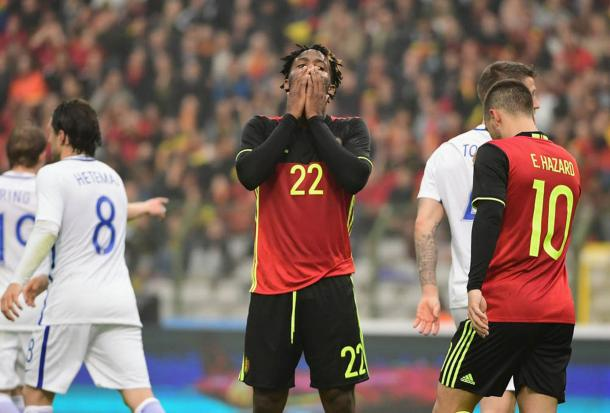 Belgium's Michy Batshuayi was frustrated after his first-half miss (Photo: Getty Images)