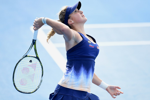 Bencic serves during the match | Photo: Brett Hemmings/Getty Images AsiaPac