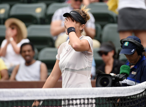 Belinda Bencic could not believe that she rebounded back from the brink to claim the win | Photo: Kevork Djansezian/Getty Images North America
