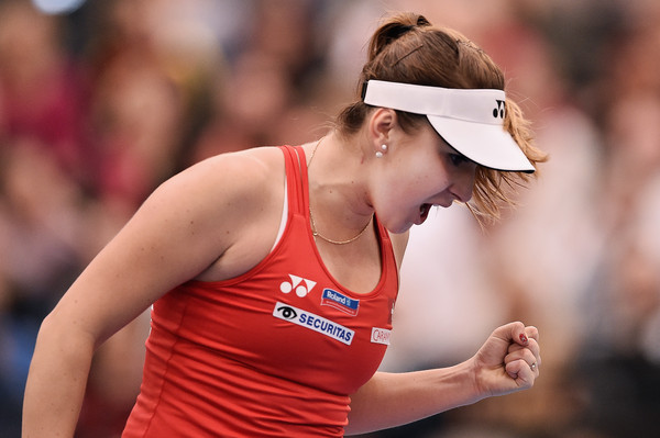 Belinda Bencic in Fed Cup action for her country against Germany | Photo: Dennis Grombkowski/Bongarts