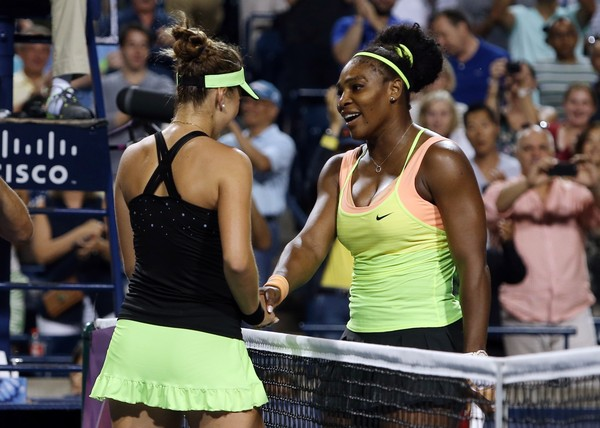 Serena Williams congratulates Belinda Bencic after their semifinal match at the 2015 Rogers Cup presented by National Bank. | Photo: Vaughn Ridley/Getty Images