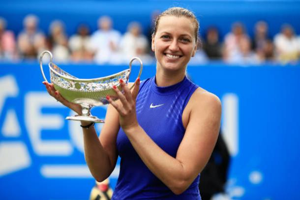 Petra Kvitova won her first title of the year at the Aegon Classic (Getty/Ben Hoskins)
