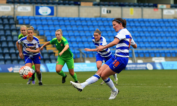 Helen Ward scores from the spot during the third meeting of the two sides this year (Photo credit: Ben Hoskins/Getty)