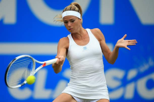 Camila Giorgi strikes a forehand during her impressive win over Elina Svitolina today (Getty/Ben Hoskins)