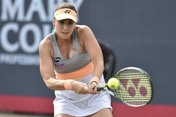 Belinda Bencic plays a backhand during her quarterfinal win. Photo: Ricoh Open