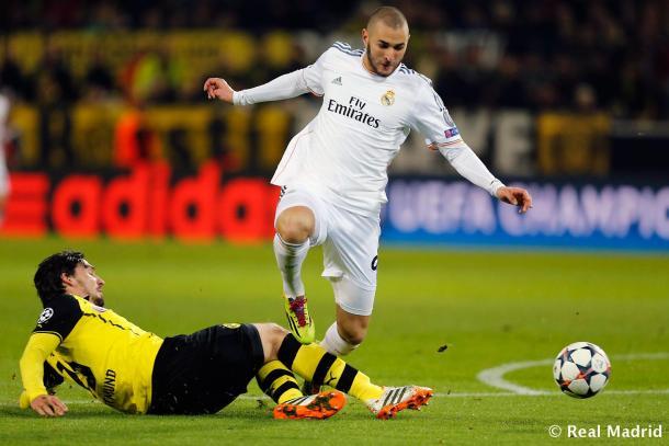 Benzema durante la vuelta de cuartos de final de la Champions 2014 ante el Dortmund/Foto:Real Madrid
