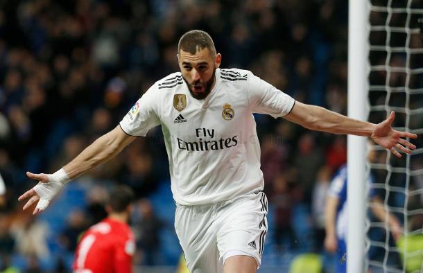 Benzema celebra el primer gol del partido/ Foto: Real Madrid