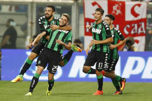 Berardi and co. celebrate the opening goal in the tie | Photo: