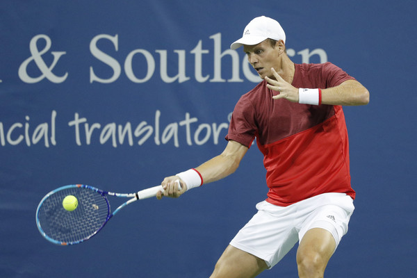 Tomas Berdych hits a forehand back at the Cincinnati Masters, his last event. Photo: Getty Images